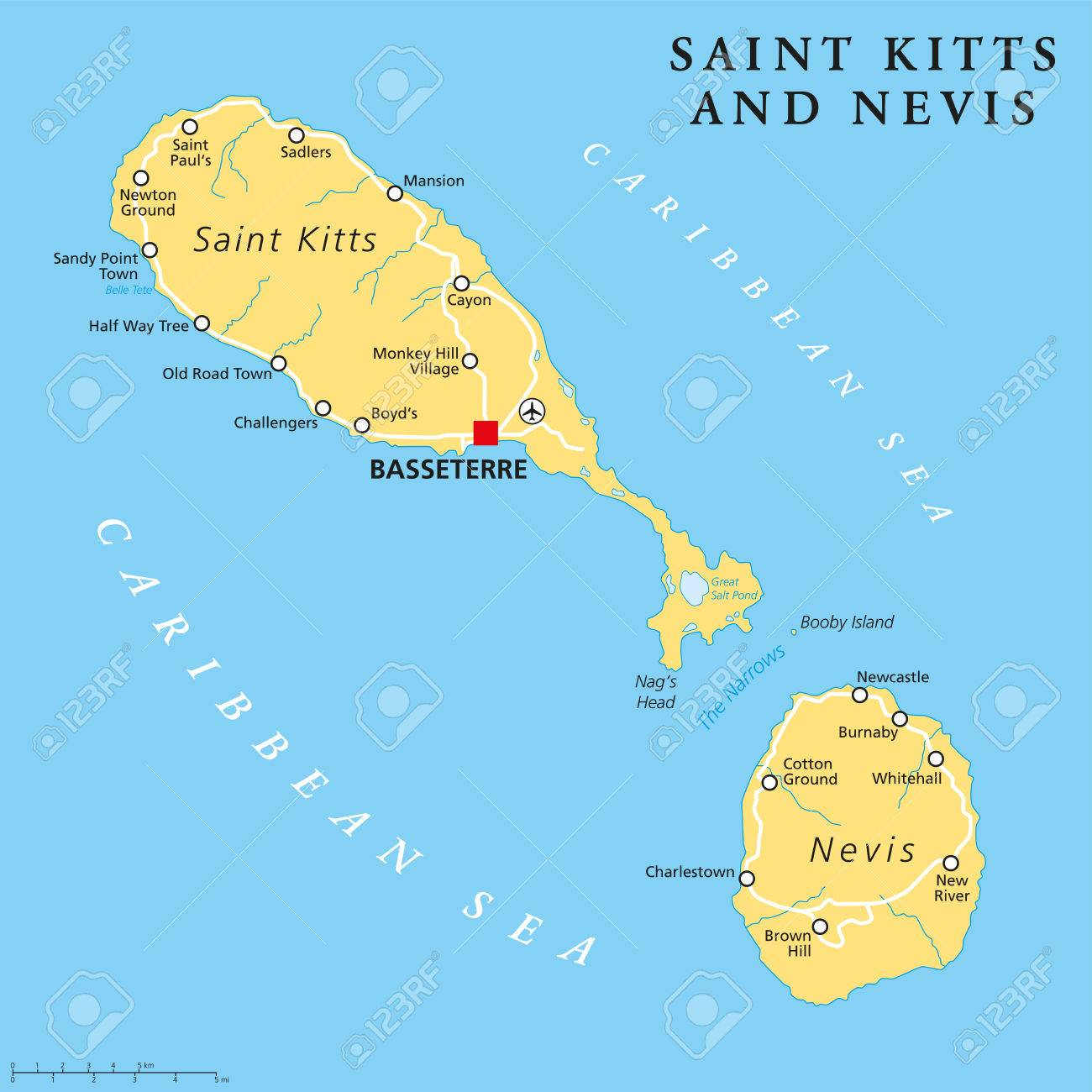 Saint Kitts And Nevis Political Map With Capital Basseterre Is - Saint kitts and nevis map