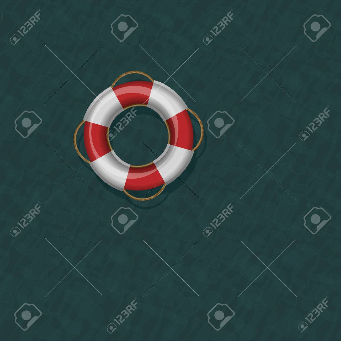 Lifebelt Floating On Dark Greenish Blue Cold Ocean Water Vector