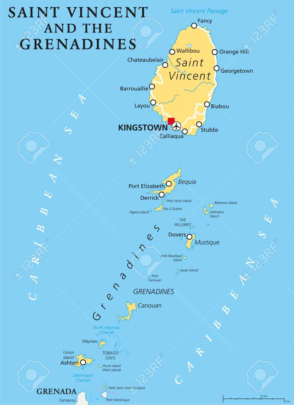 Saint Vincent And The Grenadines Political Map With Capital - Saint vincent and the grenadines map