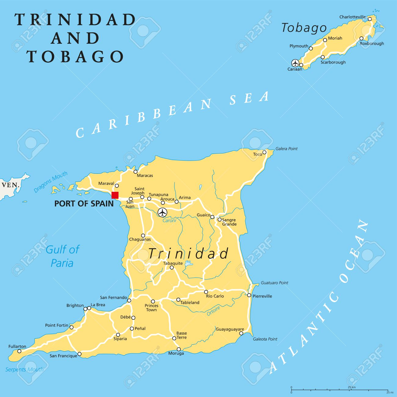 Map Of Spain And Surrounding Islands.Trinidad And Tobago Political Map With Capital Port Of Spain