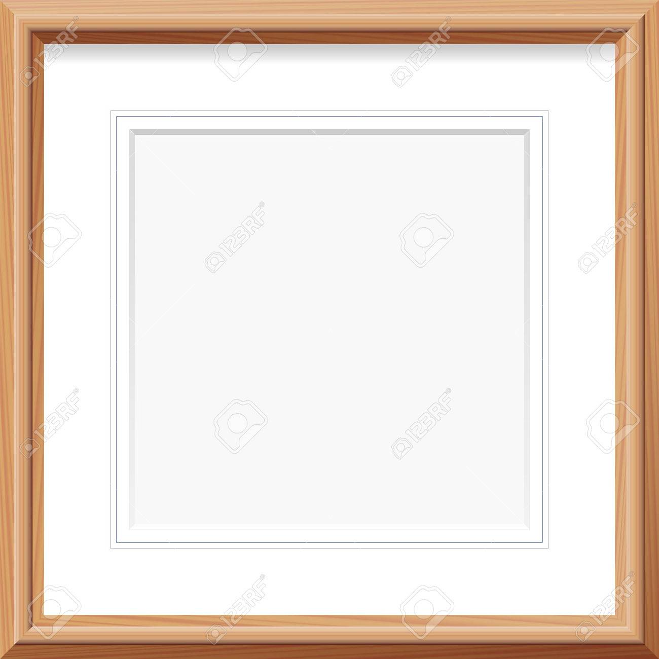 Vector   Wooden Frame With Square Mat And French Lines. Vector Illustration.
