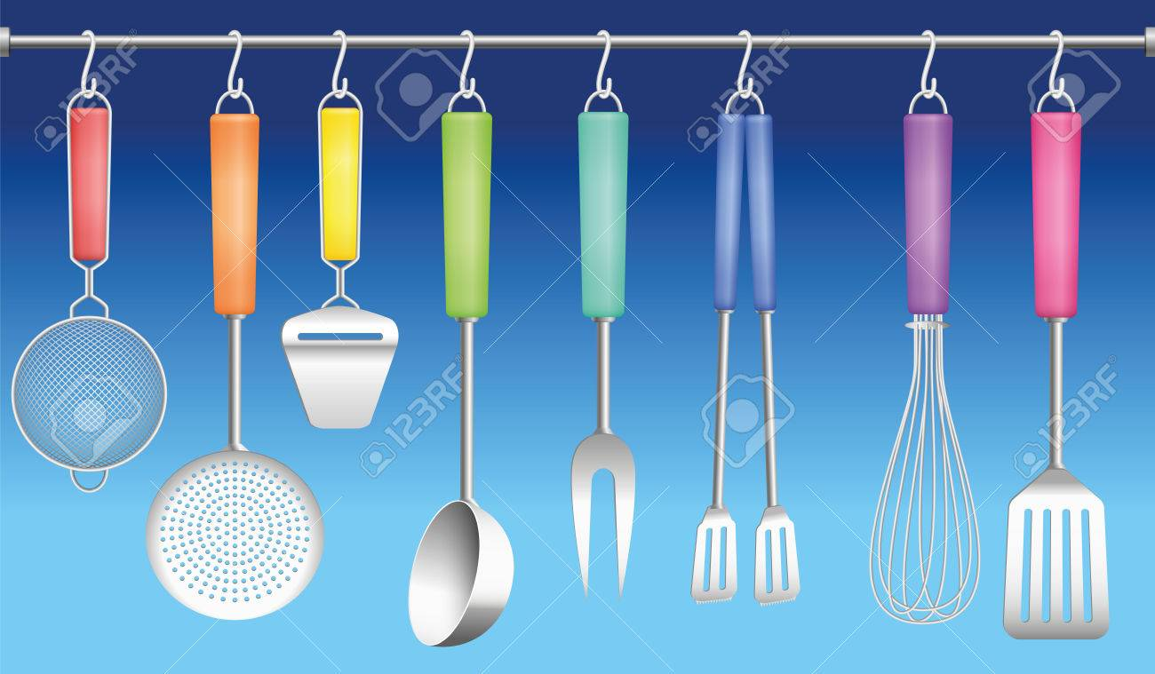 Colorful Kitchen Tools On A Hanger - Sieve, Skimmer, Cheese Slicer ...