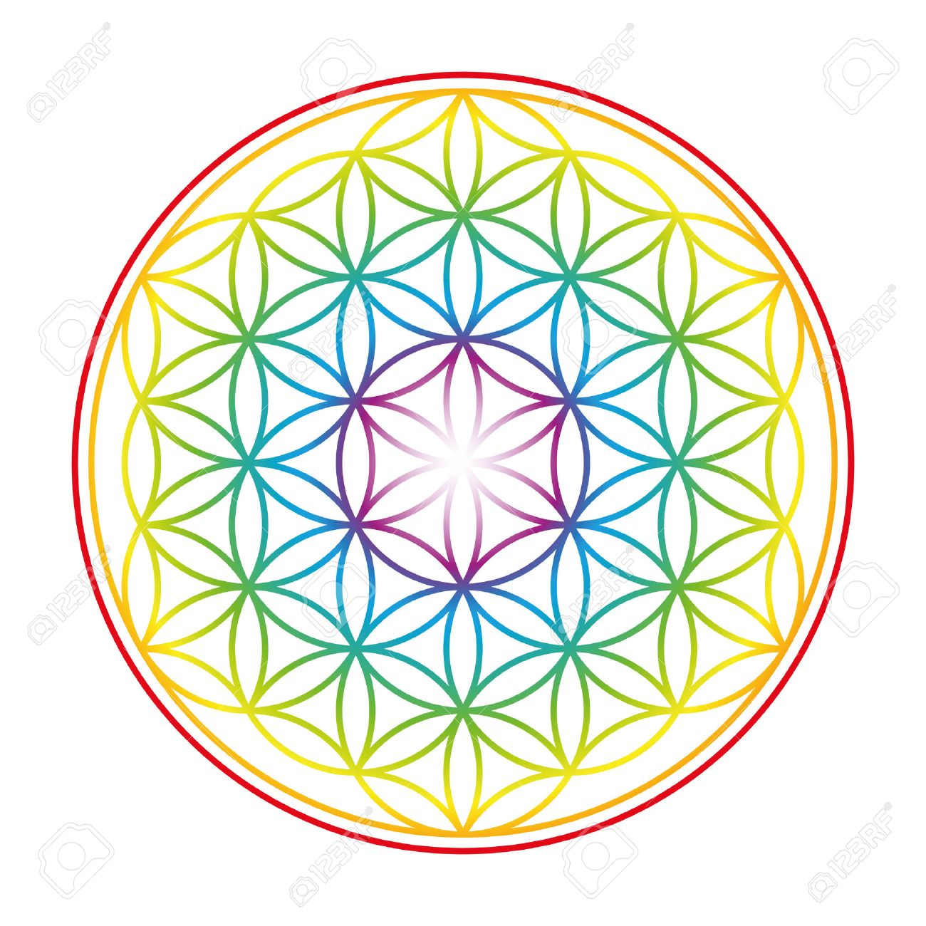 Flower of Life shown as an gently glowing rainbow colored symbol of harmony. Isolated illustration on white background. Banque d'images - 43294384