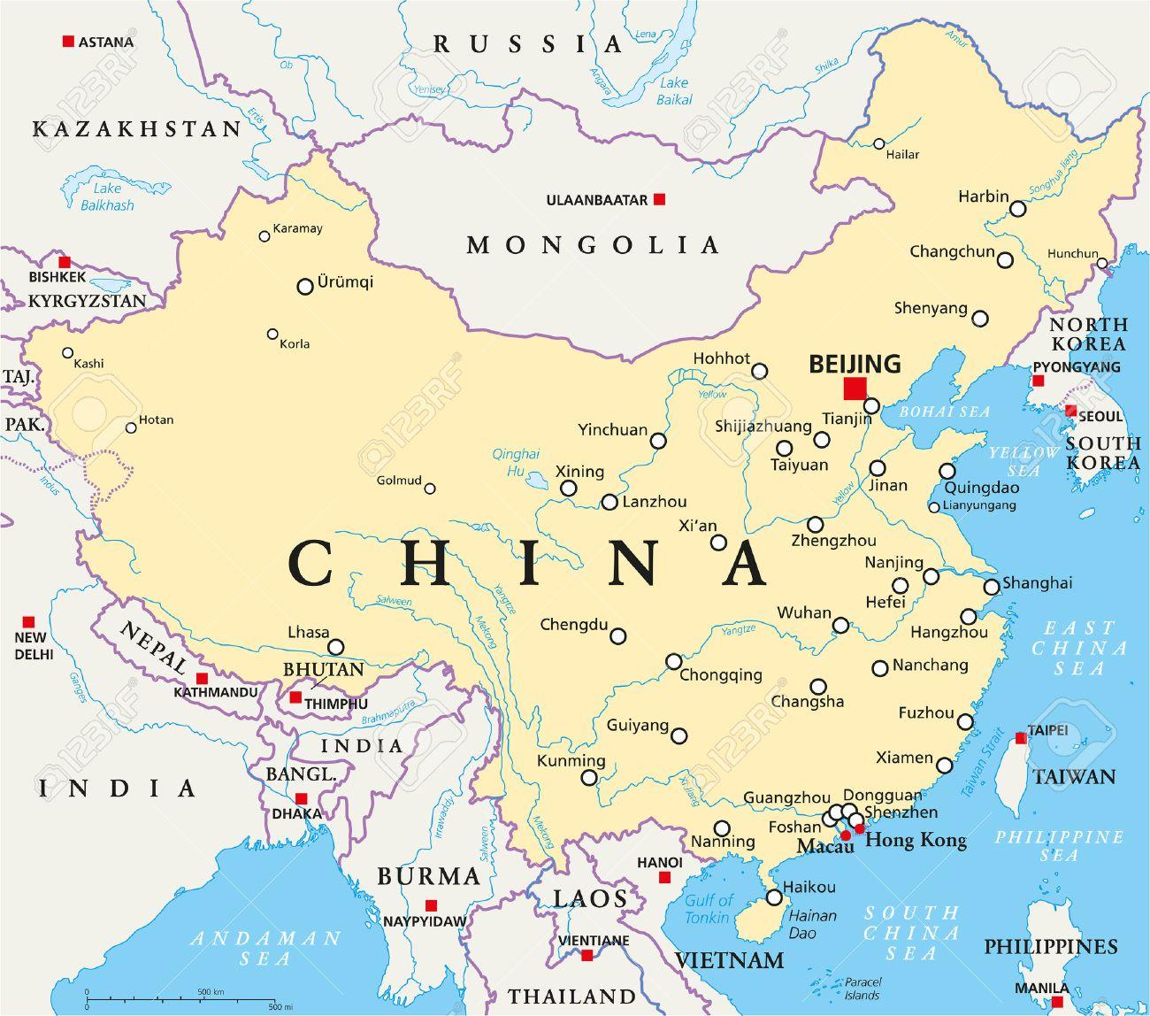 Carte Chine Frontiere.Carte Politique De La Chine Avec Beijing Capital Les Frontieres Nationales Les Villes Importantes Rivieres Et Lacs Etiquetage Anglais Et Mise A