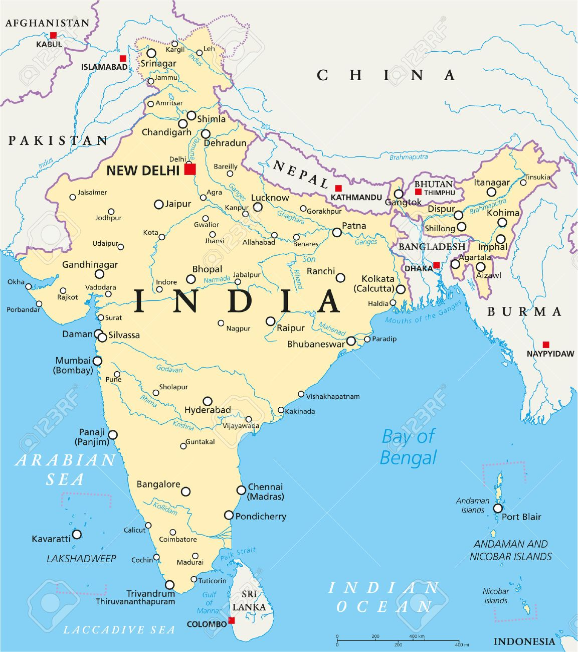 New Delhi India Map India Political Map With Capital New Delhi, National Borders