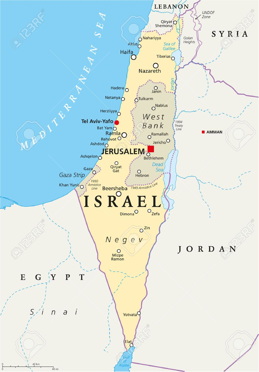 Israel Political Map With Capital Jerusalem, National Borders ...