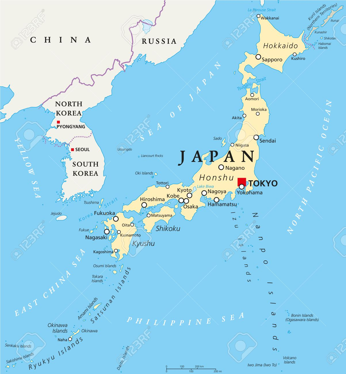Japan Political Map With Capital Tokyo, National Borders And