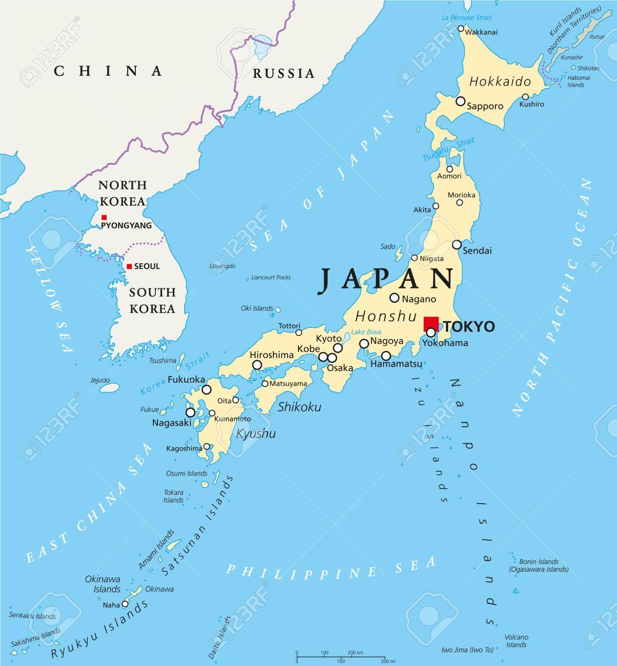 Mapa De Japon Ciudades.Mapa Politico De Japon Con El Capital Tokio Las Fronteras Nacionales Y Ciudades Importantes Ingles Etiquetado Y Descamacion Ilustracion