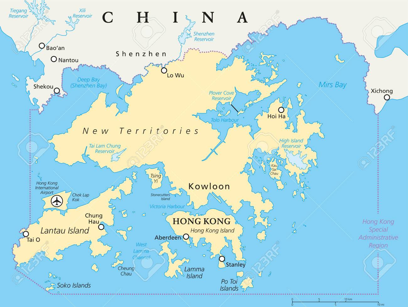 A Political Map Of The World.Hong Kong And Vicinity Political Map World Financial Centre