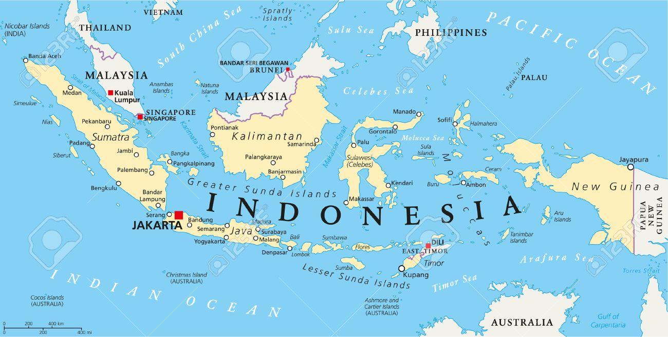 Indonesia political map with capital jakarta national borders indonesia political map with capital jakarta national borders and important cities english labeling and freerunsca Gallery