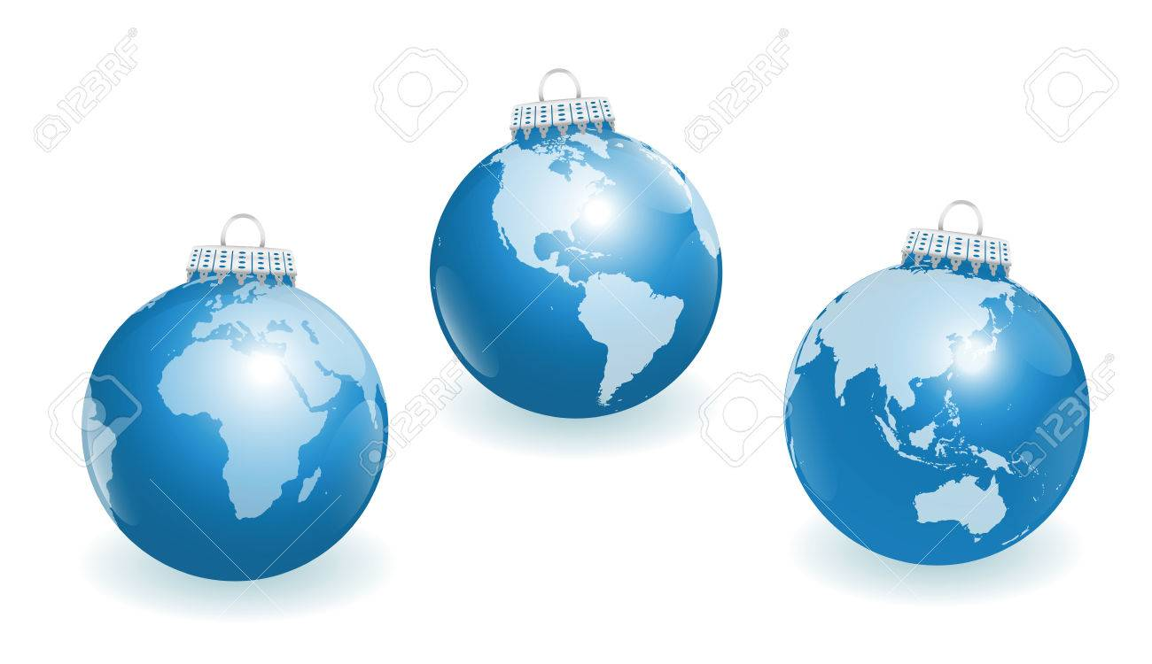 World globe christmas ornaments - Blue Christmas Tree Balls With Three Different Angles Of The World Stock Vector 45127927