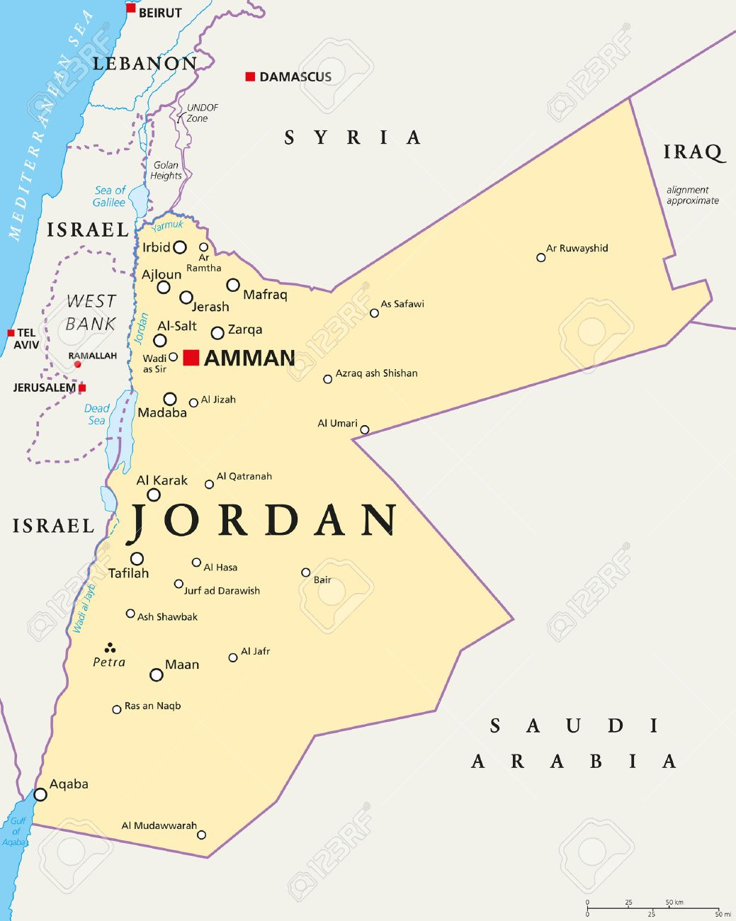 Political Map Of Jordan.Jordan Political Map With Capital Amman National Borders Important