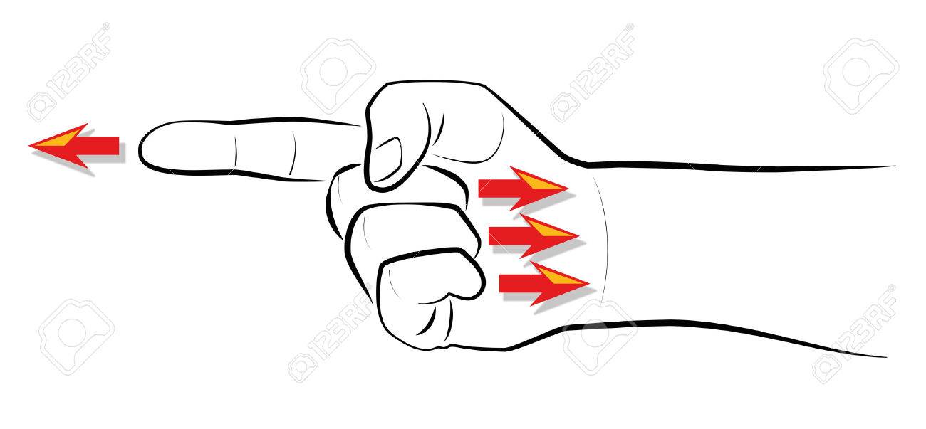 Finger-pointing - When you point one finger, there are three fingers pointing back to you. Isolated vector illustration on white background. Standard-Bild - 45559303