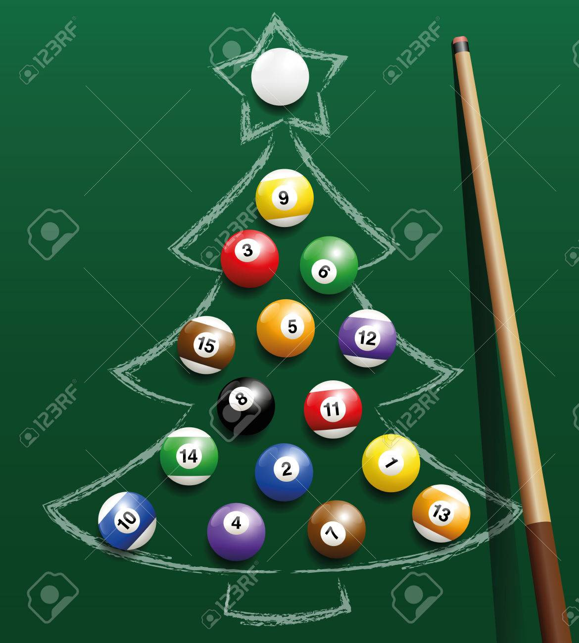 Pool billiard balls representing christmas balls on a chalk drawing. Three-dimensional isolated vector illustration on green gradient background. Standard-Bild - 46079359