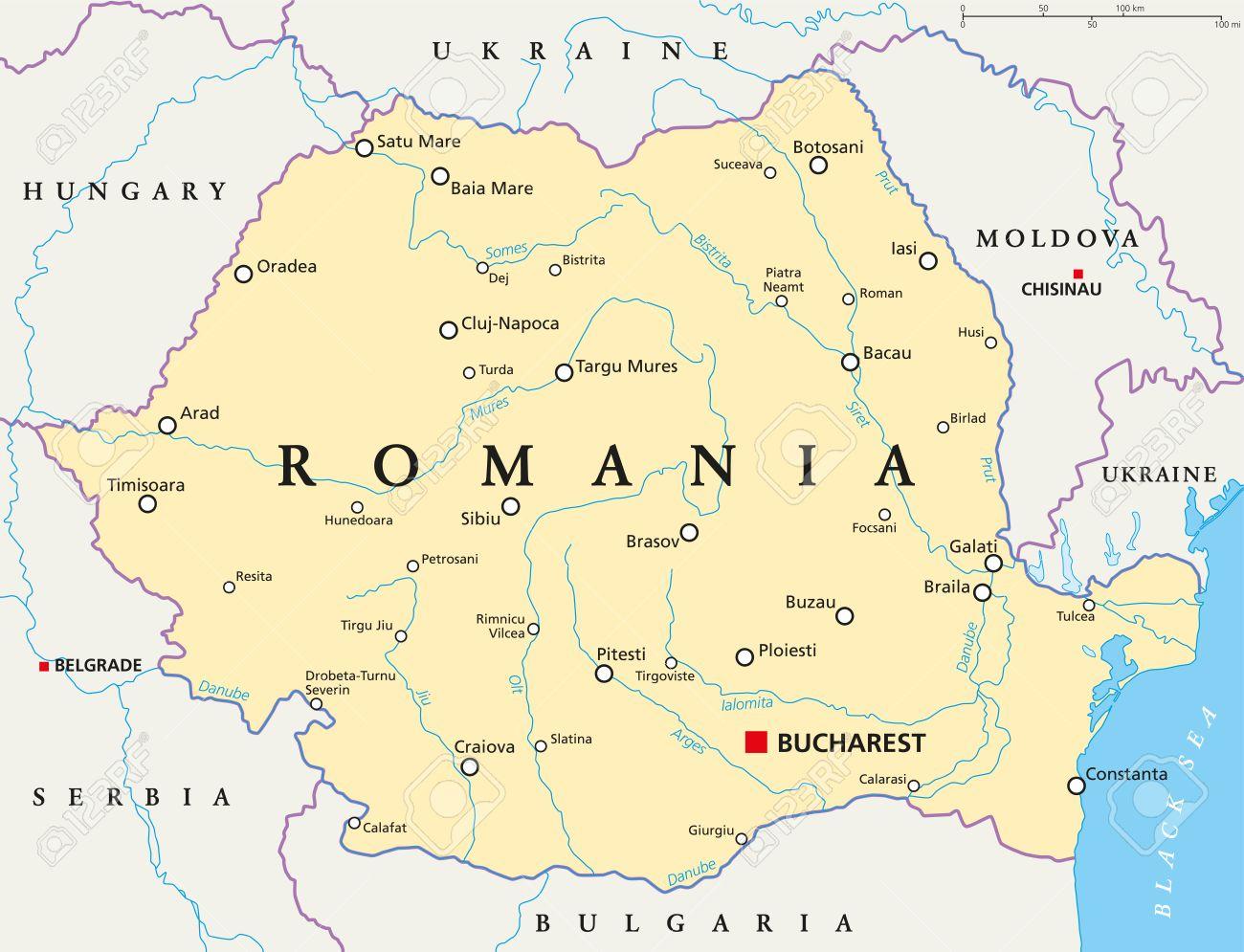 Carte Roumanie Villes.Carte Politique Avec La Roumanie Capitale Bucarest Les Frontieres Nationales Les Villes Importantes Rivieres Et Lacs Etiquetage Anglais Et Mise A