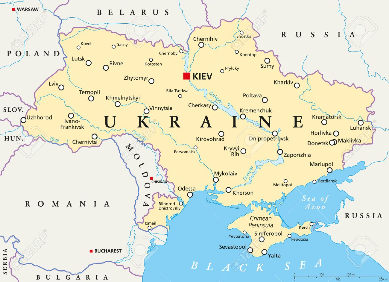 Kiev Ukraine Map Ukraine Political Map With Capital Kiev Royalty Free Cliparts