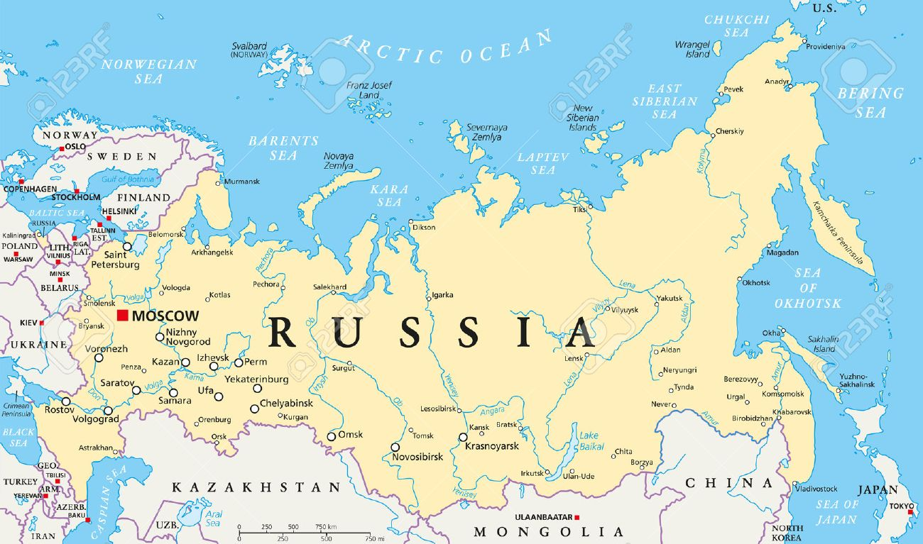 Russia Political Map With Capital Moscow Royalty Free Cliparts