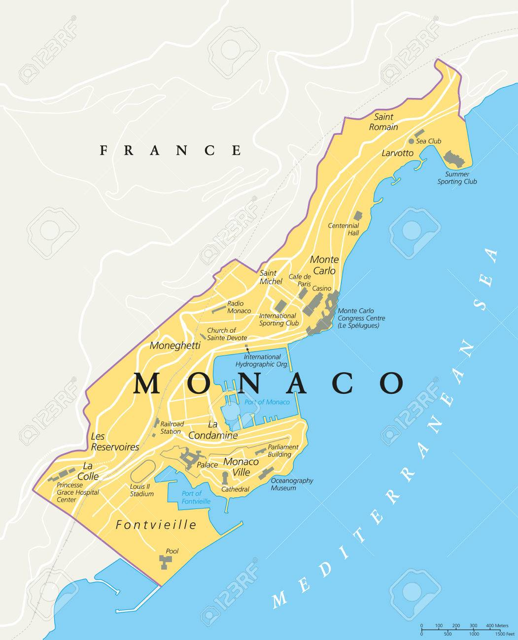 Monaco Political Map City State In On The French Riviera France