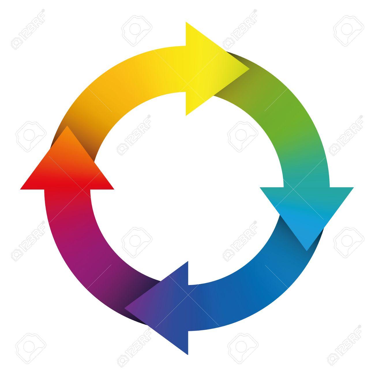 Schaltzeichen Mit Regenbogen Farbigen Pfeile. Illustration Auf ...