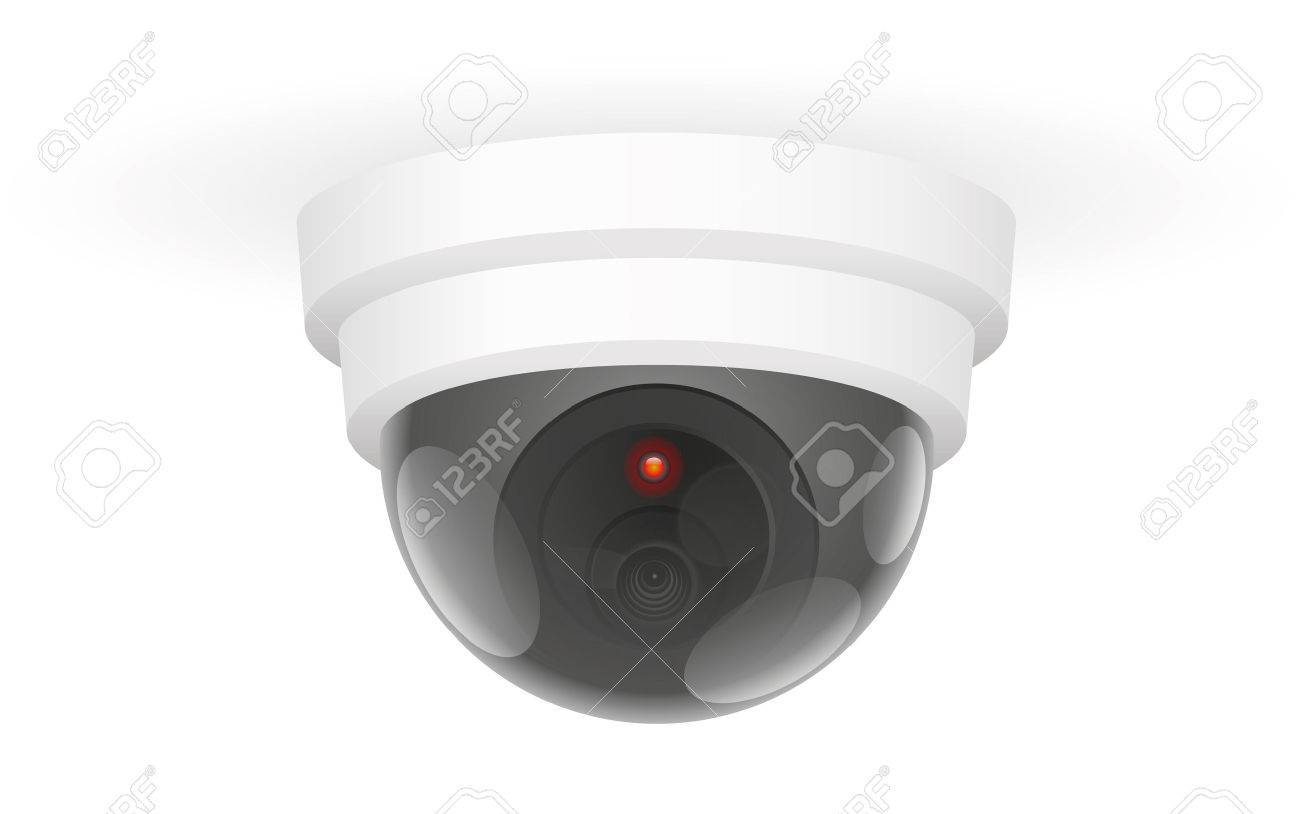 Observing ceiling camera - isolated vector illustration over white background. Standard-Bild - 48052760