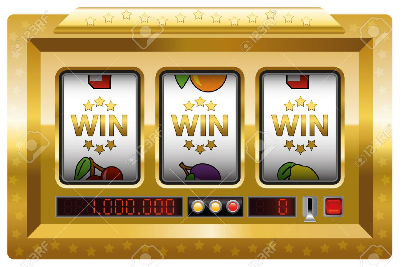 Slot machine - win-win-win-game. Illustration over white background. Standard-Bild - 48052762