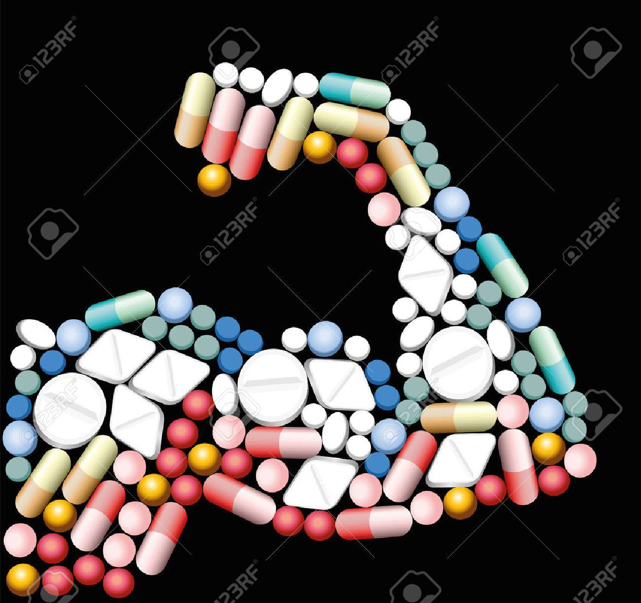 Anabolic drugs, pills and capsules, that shape the biceps of a muscular man. Illustration over black background. Standard-Bild - 48052922