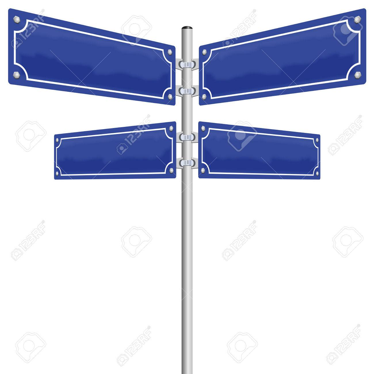 Street signs - four blank, glossy blue metal panels showing in four different directions. Illustration on white background. Standard-Bild - 48052931
