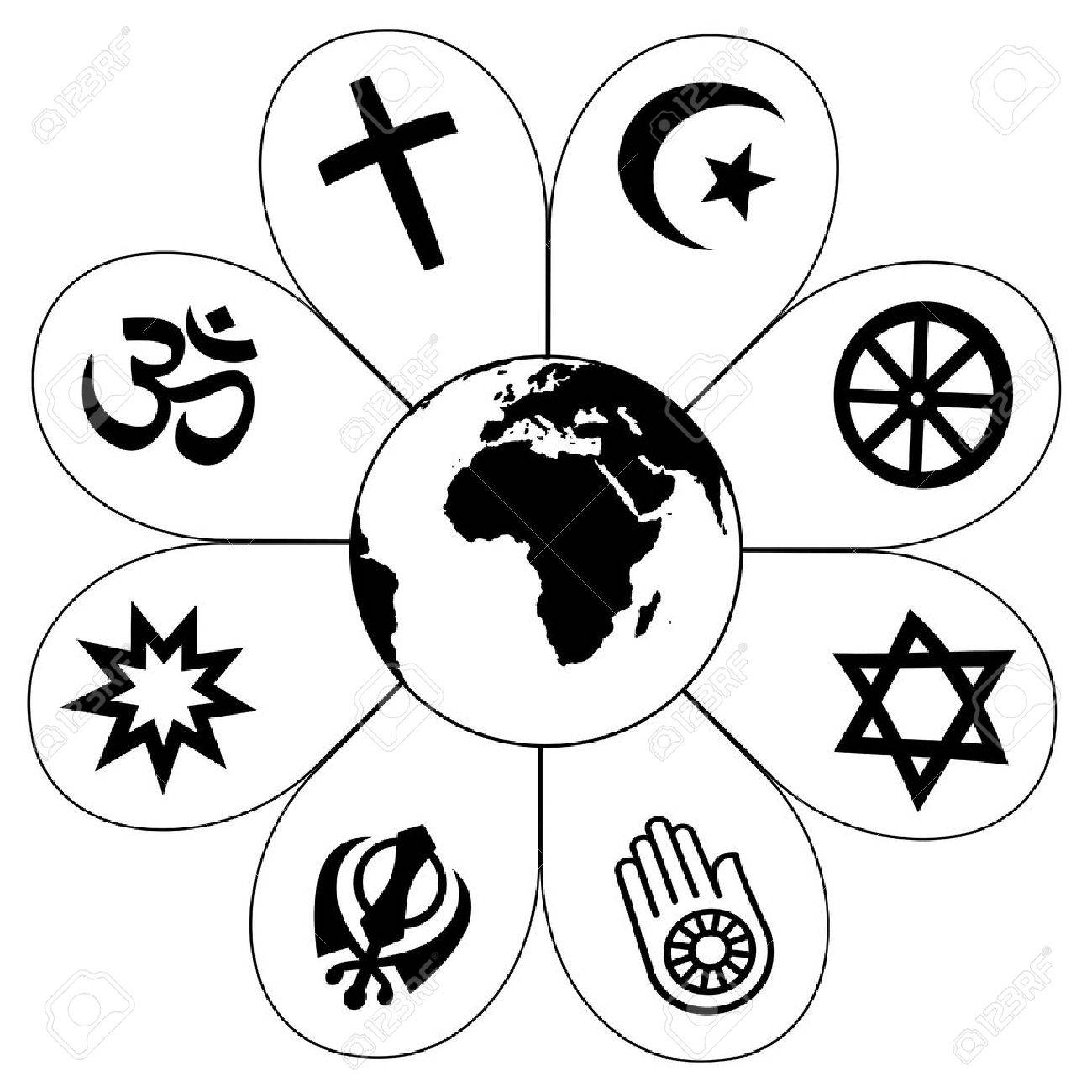 World Religions Flower Icon Made Of Religious Symbols And Planet