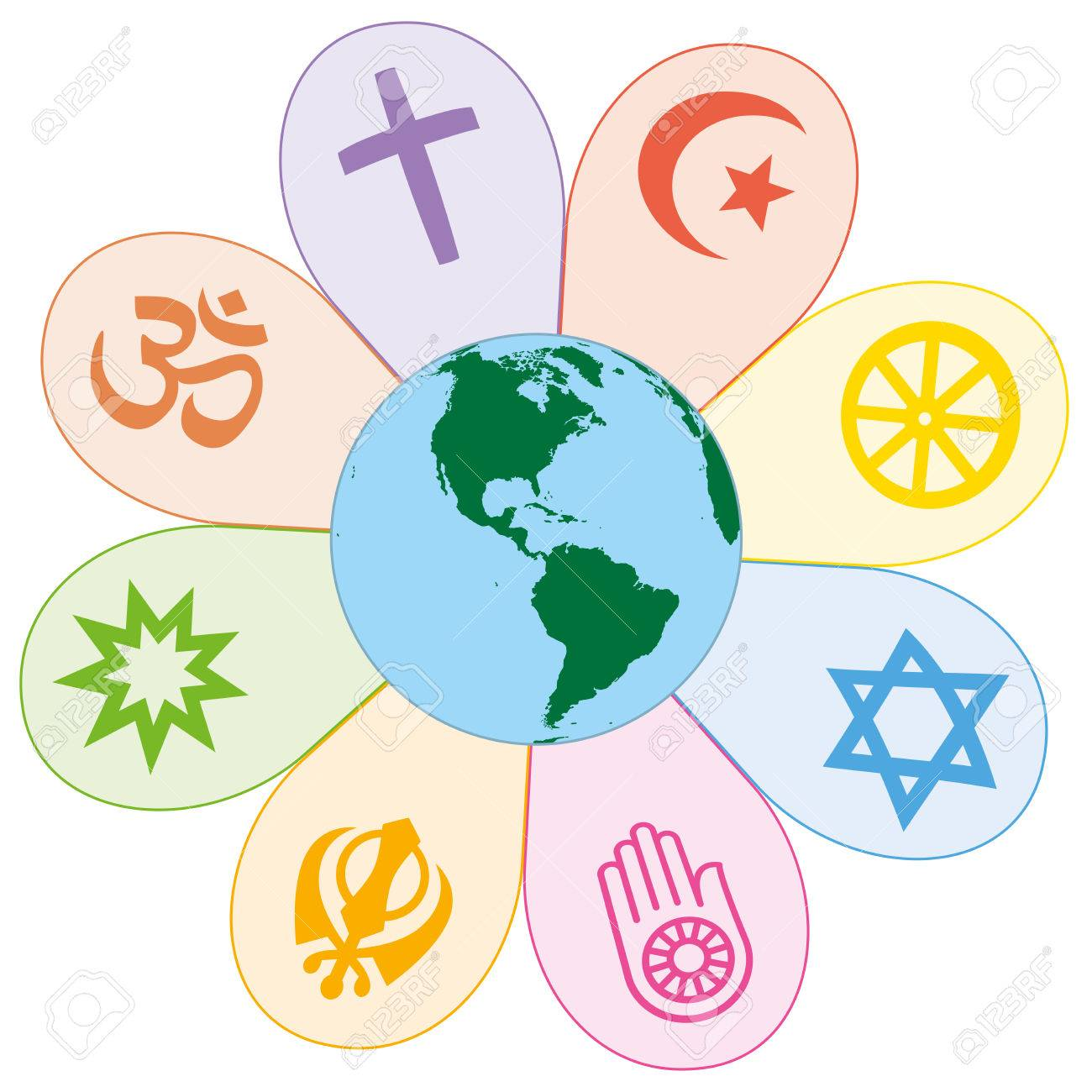 World religions united on a colorful flower with planet earth in center. Isolated vector illustration on white background. Standard-Bild - 48052933