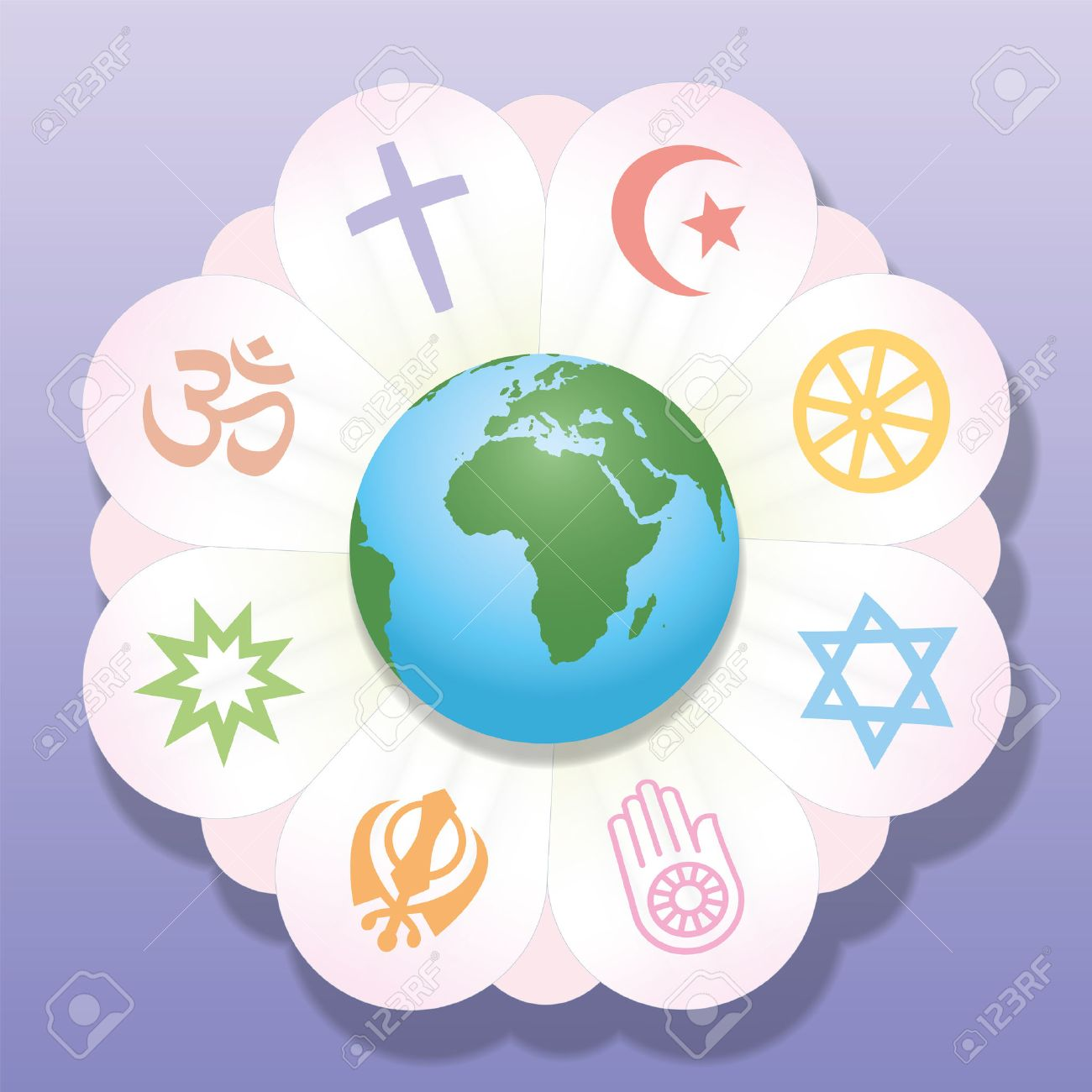 Religious symbols images stock pictures royalty free religious religious symbols world religions united as petals of a flower a symbol for religious dhlflorist Choice Image
