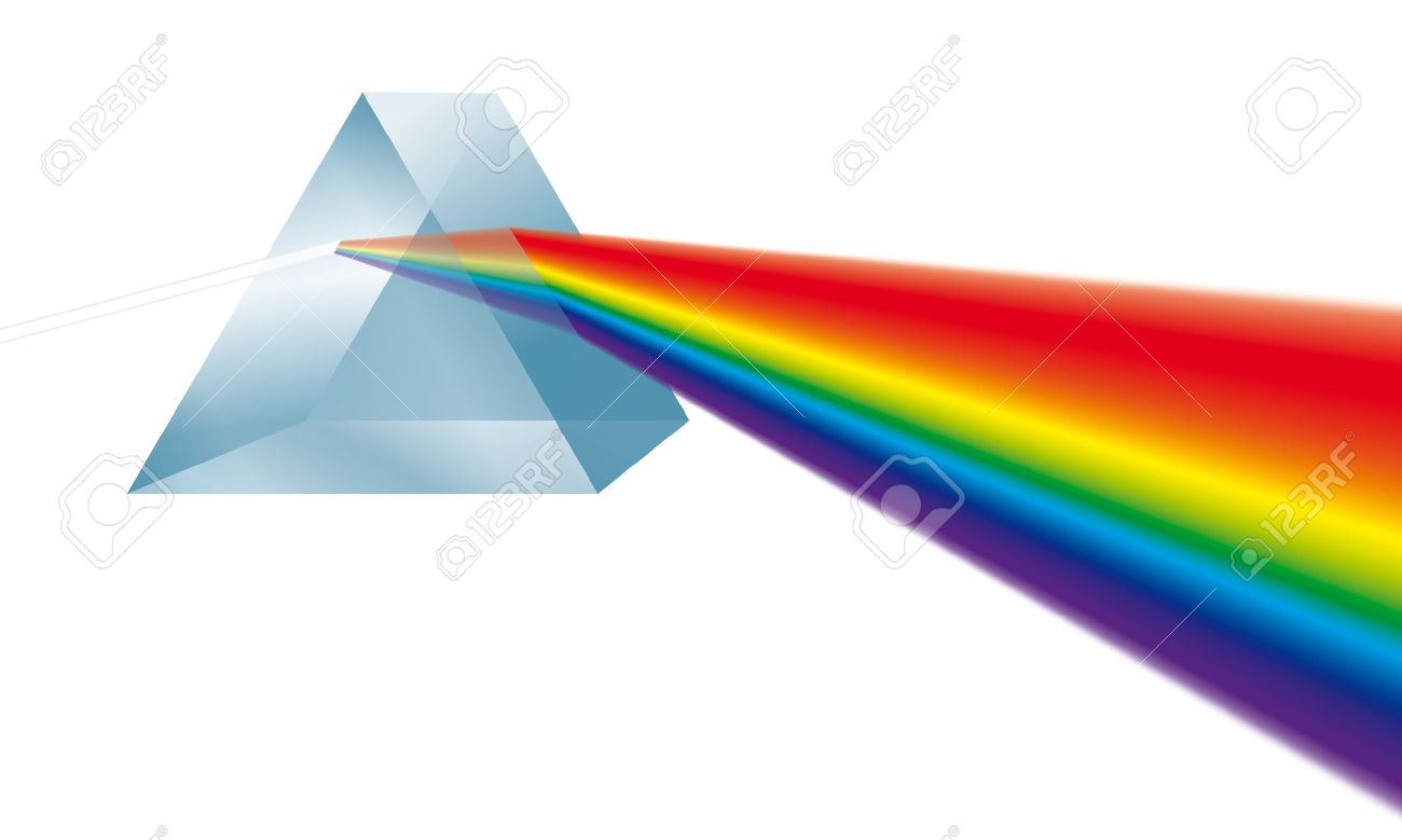 Triangular prism breaks white light ray into rainbow spectral colors. Illustration on white background. Standard-Bild - 48052939