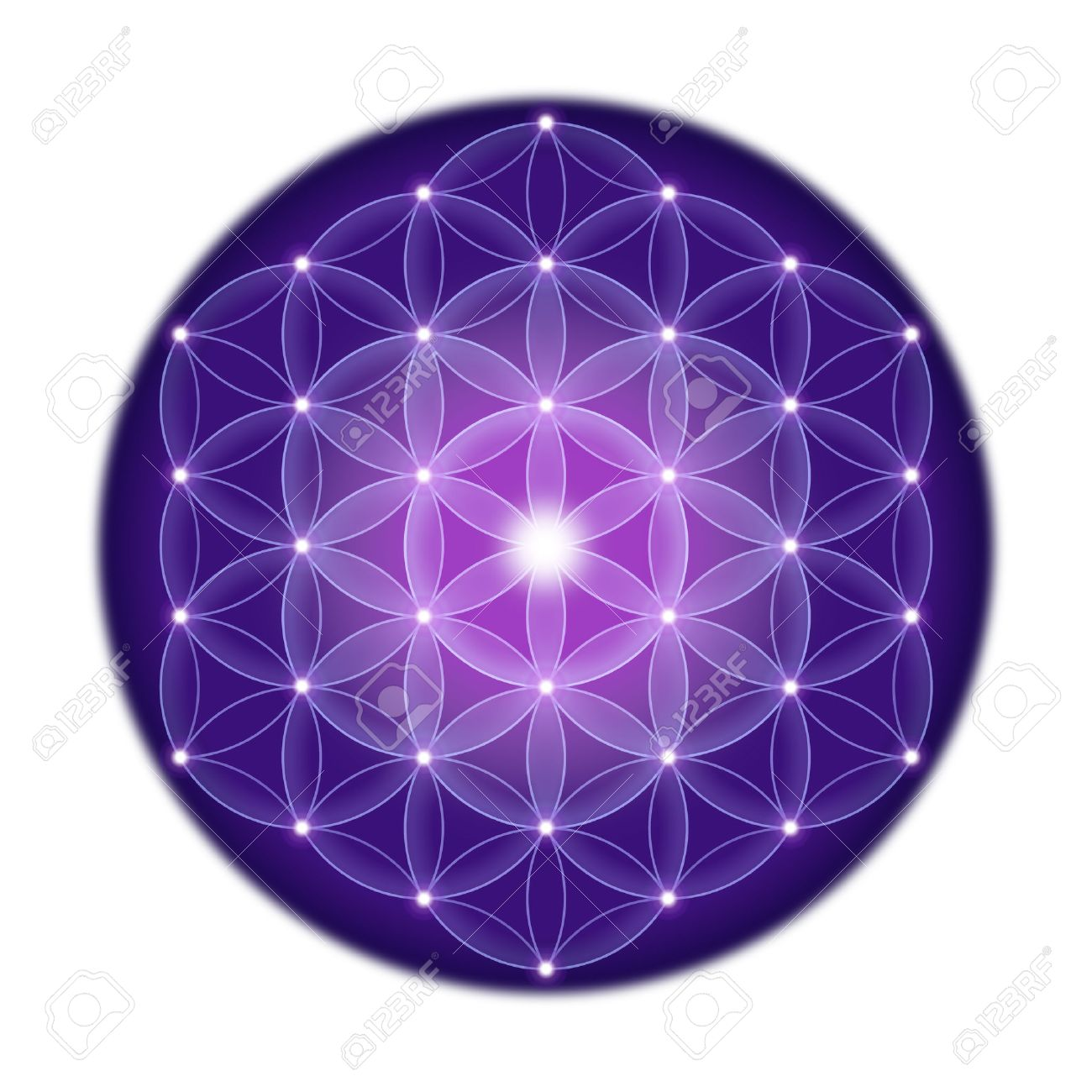 Bright Flower of Life with stars on white background, a spiritual symbol and Sacred Geometry since ancient times. Standard-Bild - 48697726