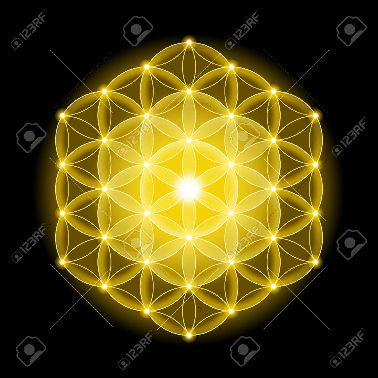 Golden Cosmic Flower Of Life With Stars On Black Background,.. Stock Photo, Picture And Royalty Free Image. Image 48697729.