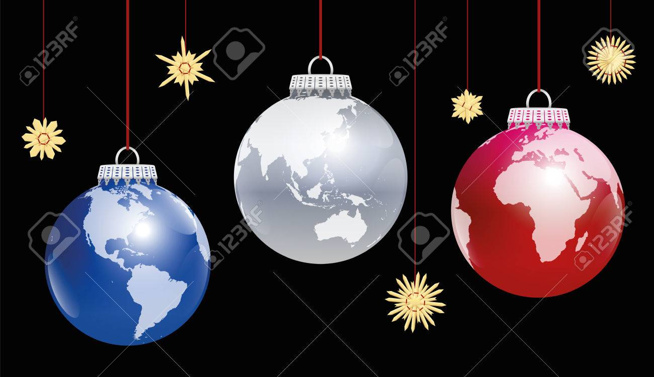 Christmas balls planet earth - three different angles of view. Three-dimensional illustration on black background. Standard-Bild - 48960829
