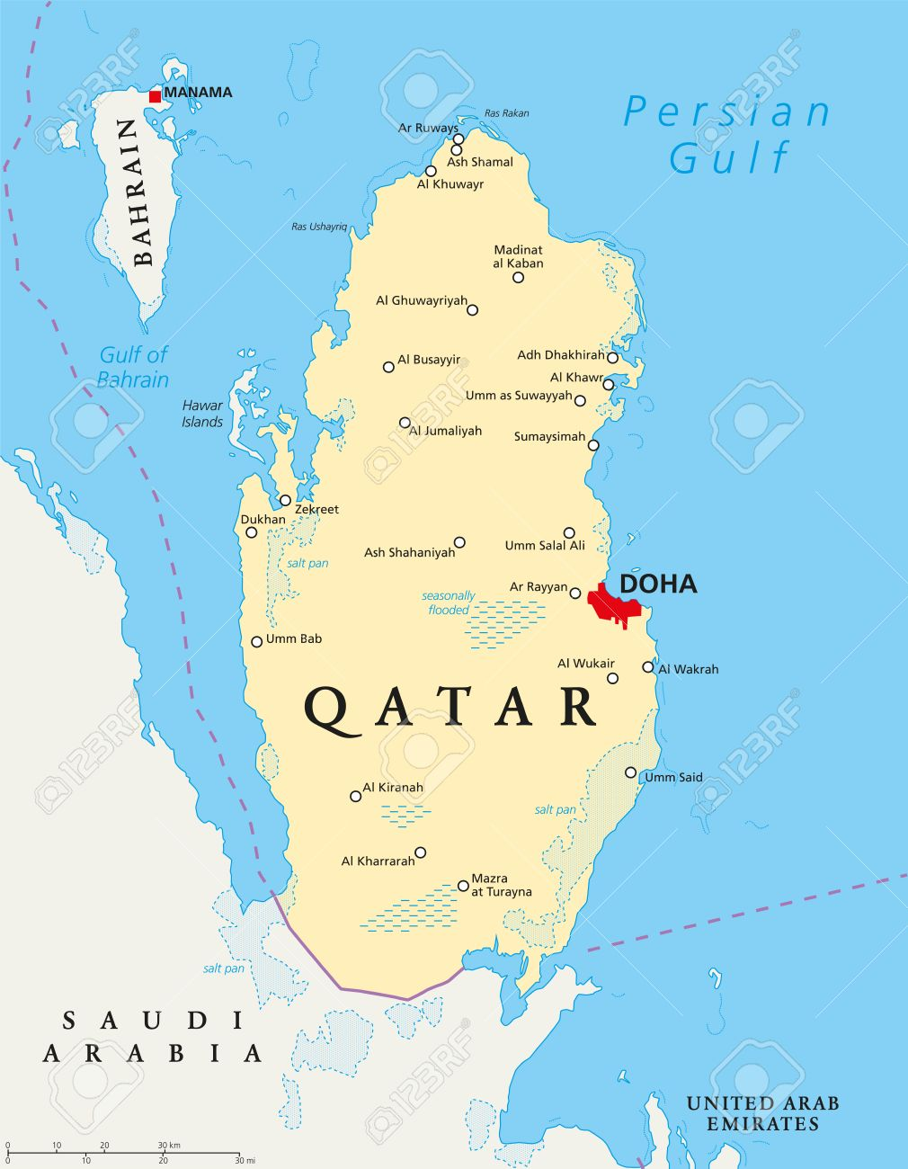 Qatar political map with capital doha national borders important qatar political map with capital doha national borders important cities salt pans and gumiabroncs Image collections