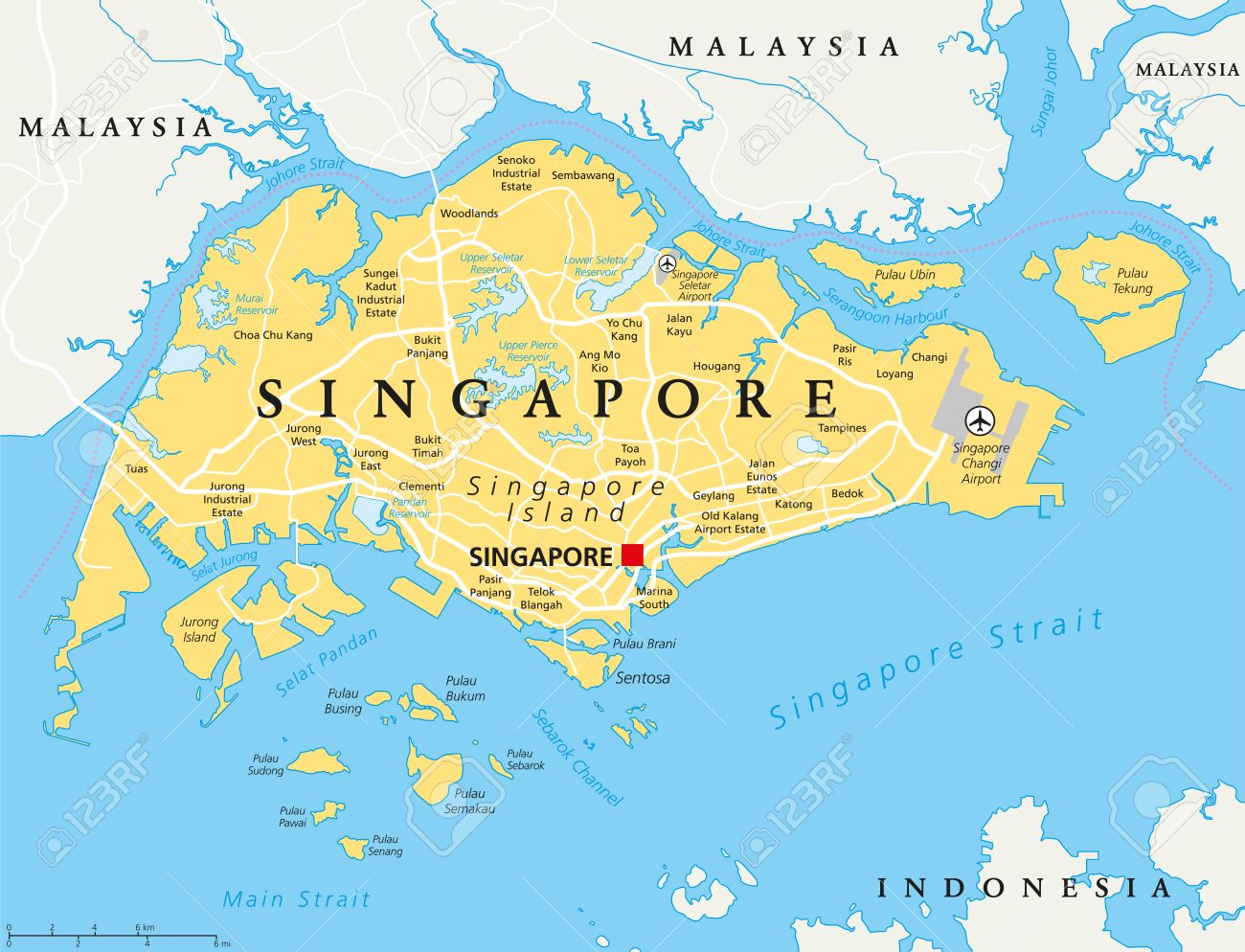 Singapore Islands Map Singapore Island Political Map With Capital Singapore, National