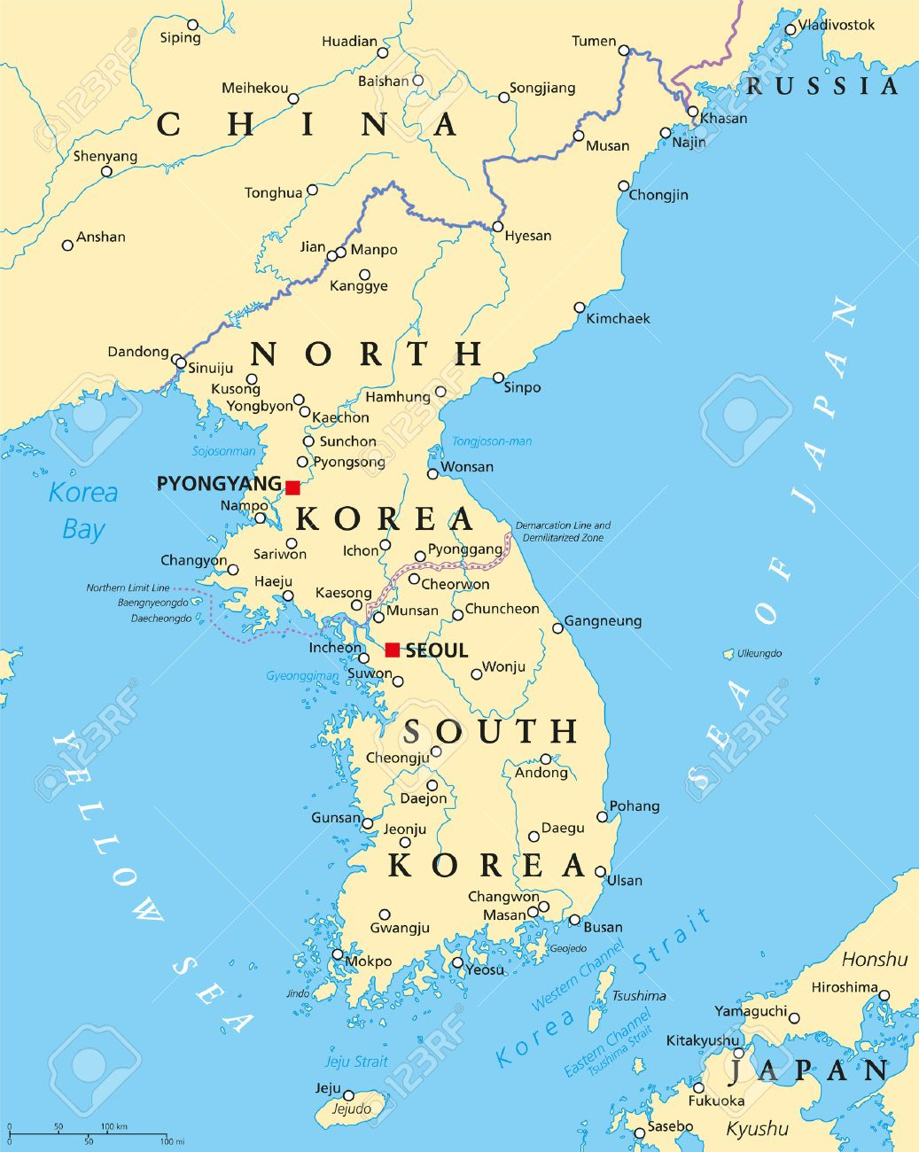 korean peninsula political map with north and south korea and
