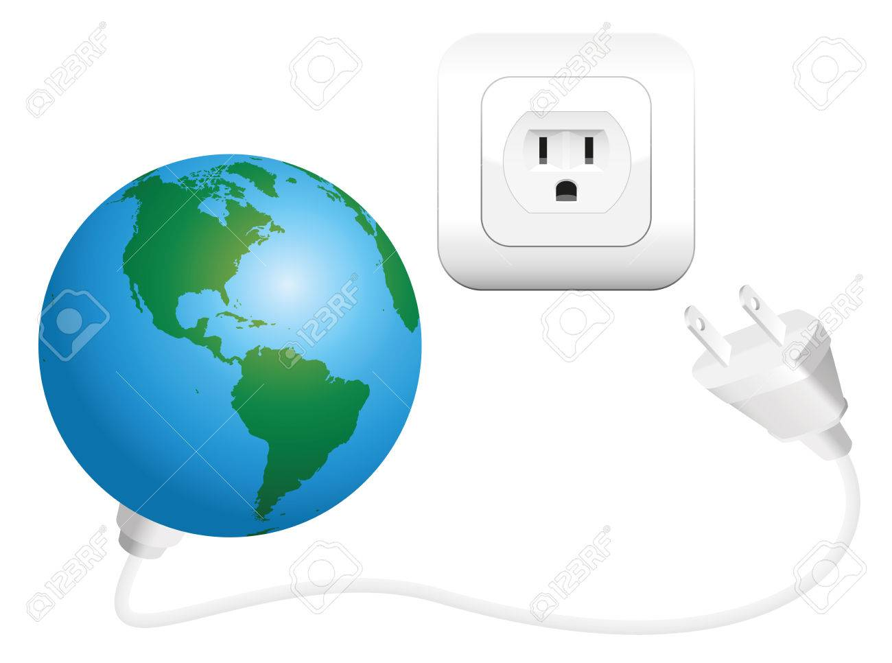 Earth With Plug As A Symbol For Global Power Consumption Isolated