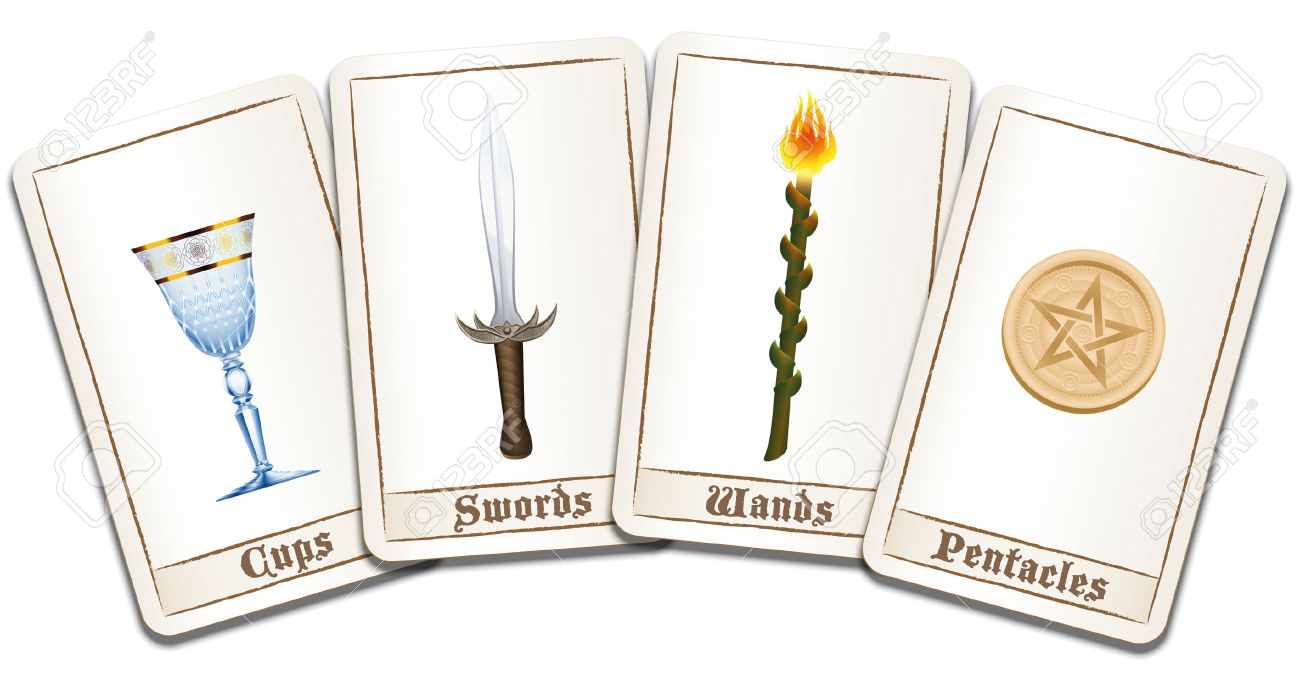 Tarot cards fanned out with four suits: wands, coins, swords and cups. Isolated vector illustration on white background. Standard-Bild - 51296901