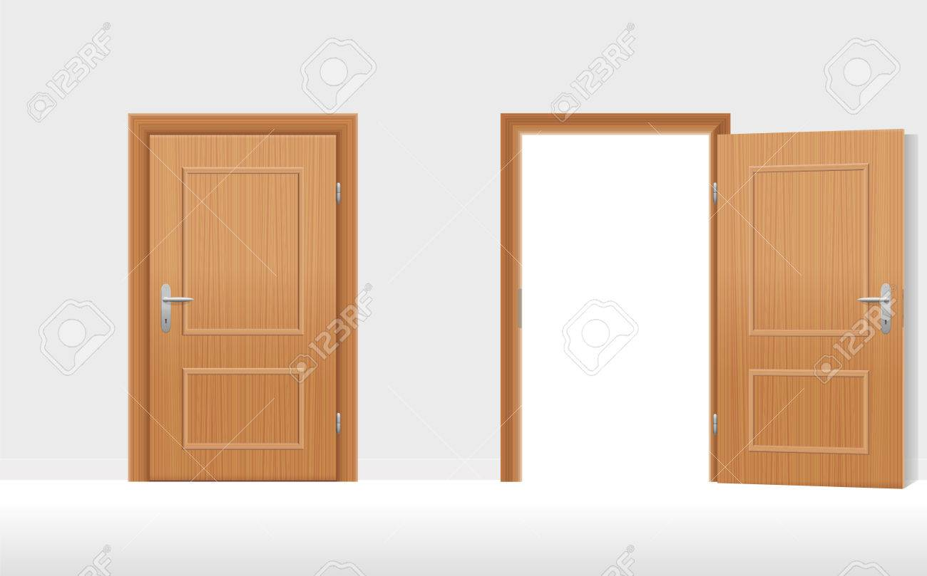 Doors - Two wooden doors one is closed the second is open. illustration & Doors - Two Wooden Doors One Is Closed The Second Is Open ...