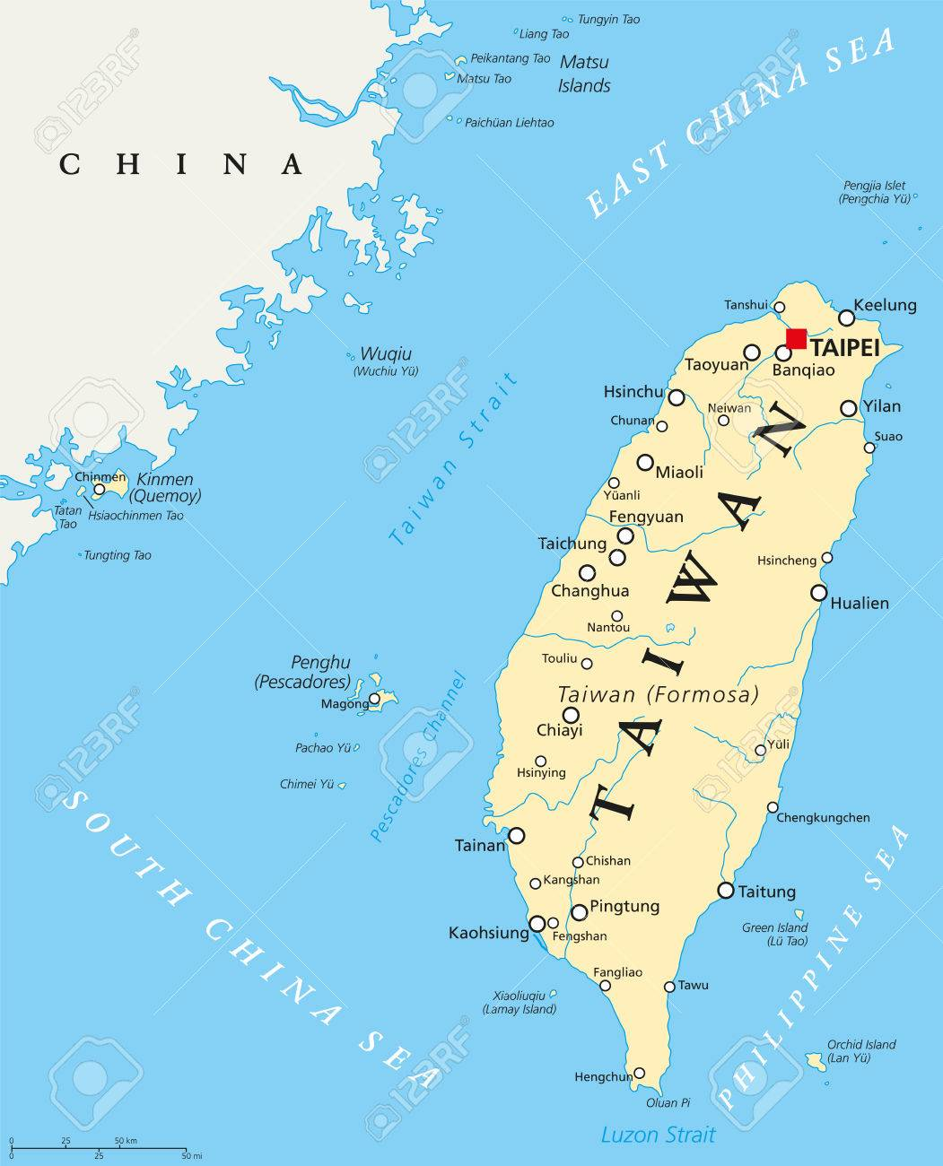 Taiwan Republic Of China Political Map With Capital Taipei - China political map in english