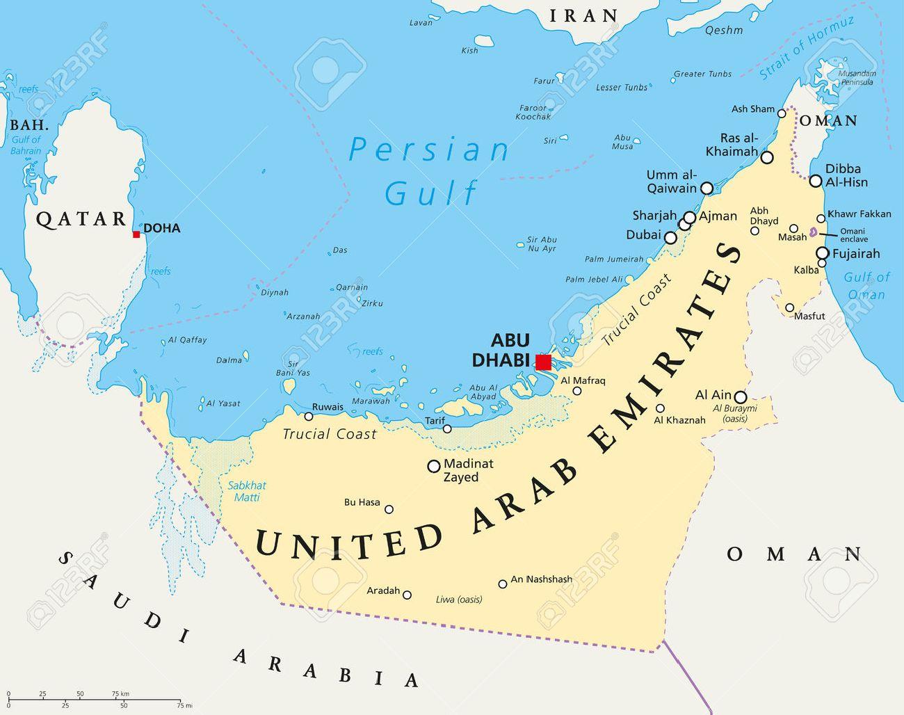 UAE United Arab Emirates Political Map With Capital Abu Dhabi ...