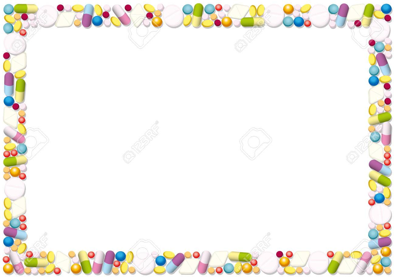 Pills And Capsules Forming A Horizontal Frame. Isolated Illustration ...