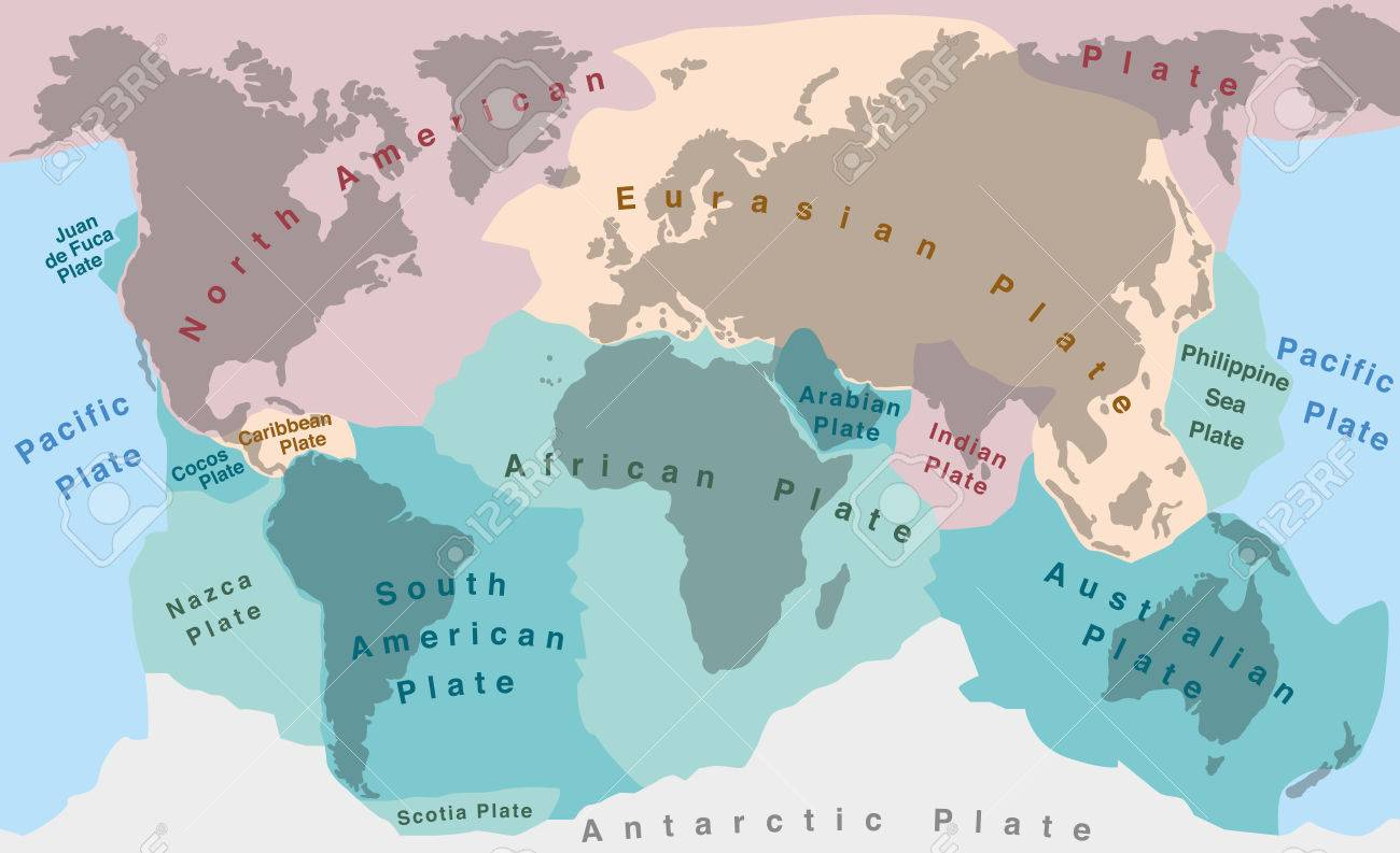 Tectonic Plates Of Planet Earth Map With Names Of Major An