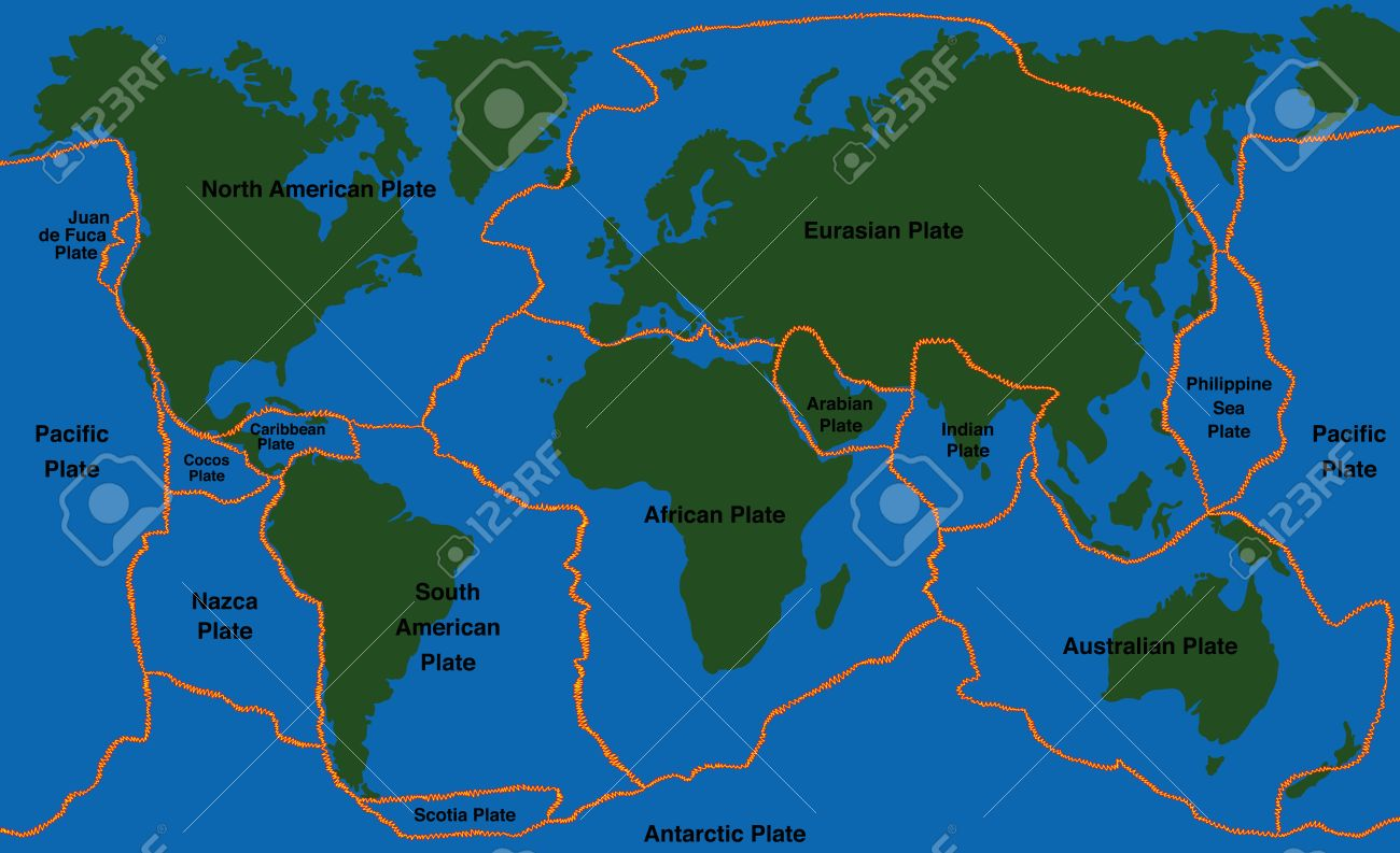 Plate Tectonics World Map With Fault Lines Of Major An Minor - Map of major us fault lines