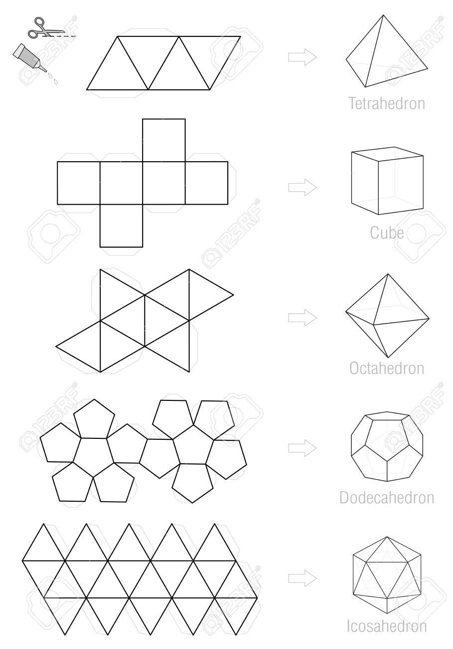 Platonic Solids - Coloring Picture And Craft Pattern Template ...