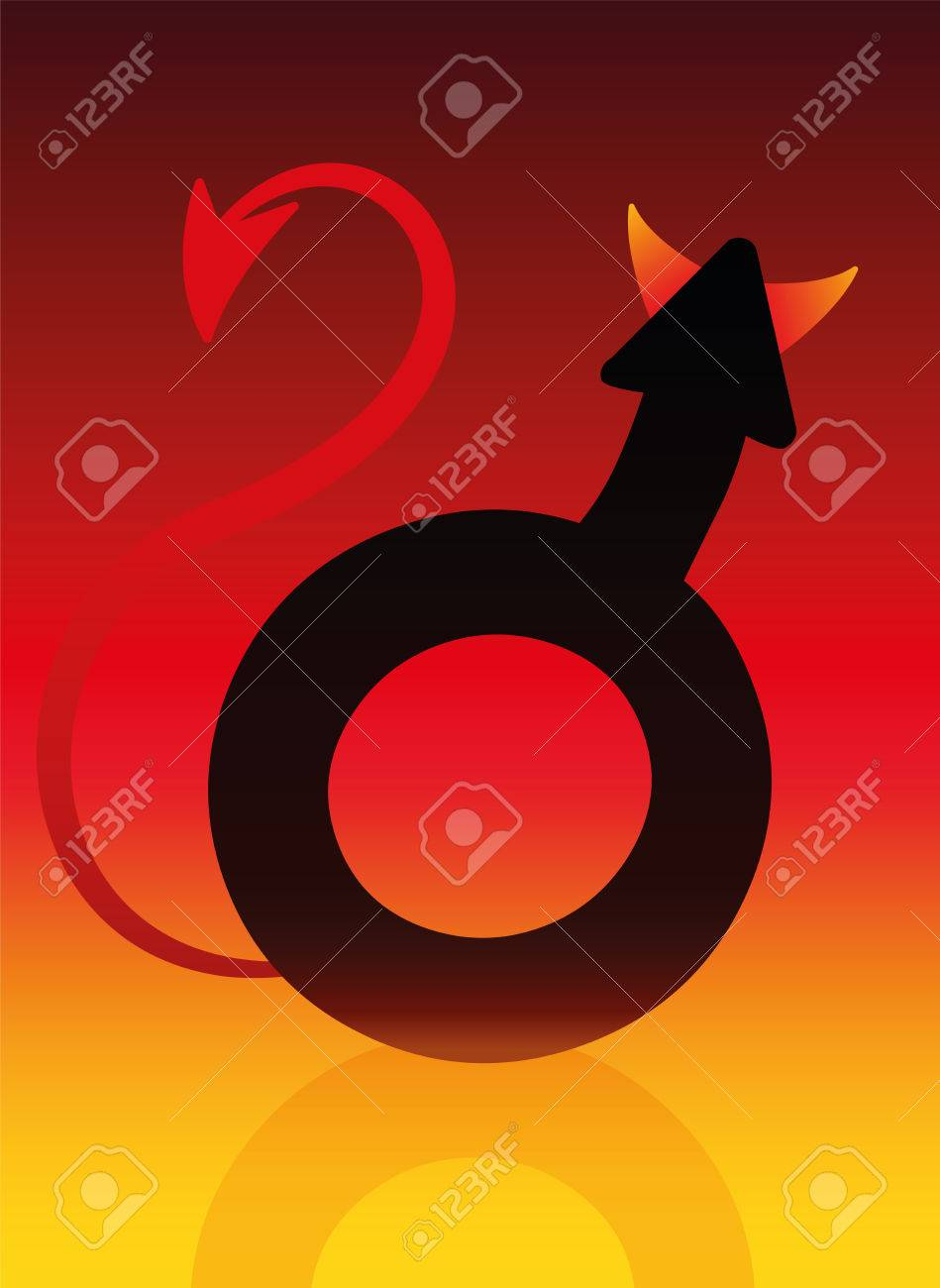 Male devil symbol with tails and horns on blazing background as a male devil symbol with tails and horns on blazing background as a symbol for a bad buycottarizona