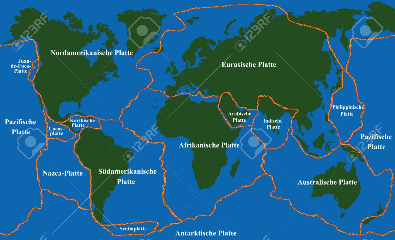 Plate Tectonics World Map With Fault Lines Of Major An Minor - Plate tectonics map