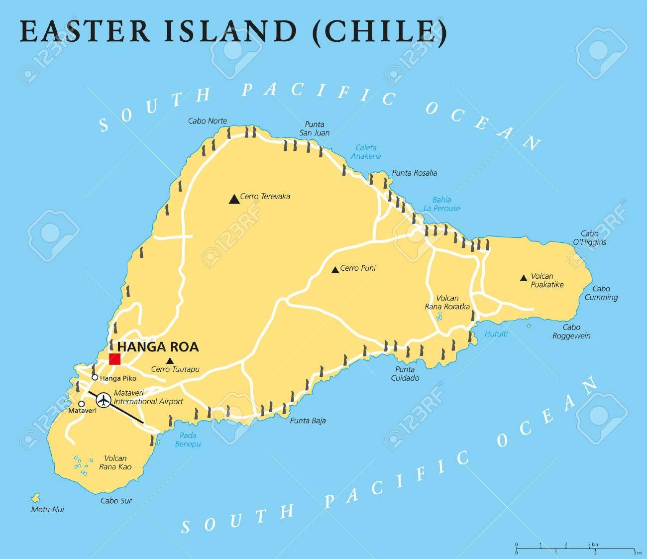 Easter Island Political Map With Capital Hanga Roa Important