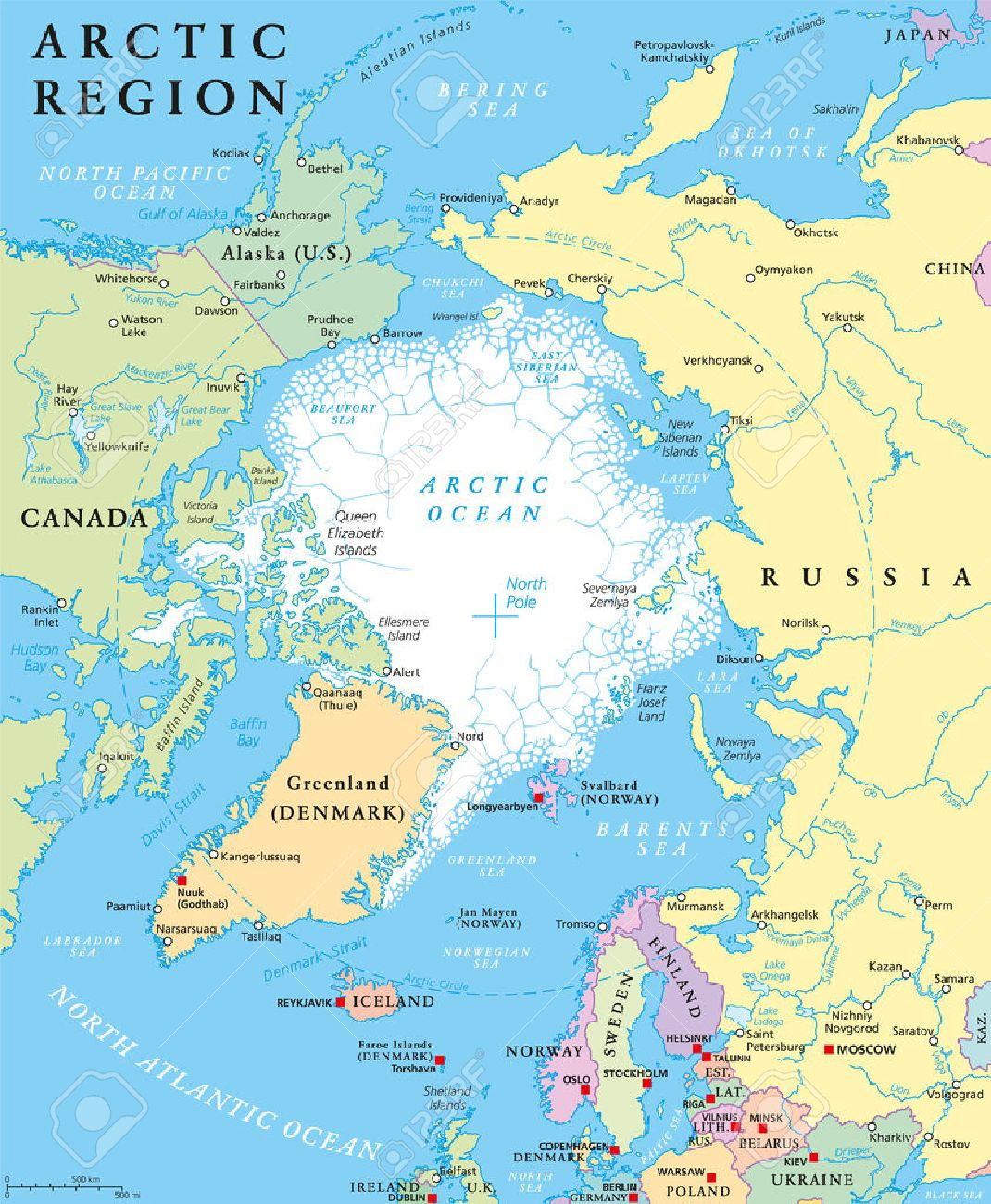 Arctic region political map with countries, capitals, national borders, important cities, rivers and lakes. Arctic Ocean with average minimum extent of sea ice. English labeling and scaling. Standard-Bild - 58784777